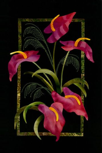 Anthurium & Grasses Exotic Flowers Pattern Sashiko & Applique Design